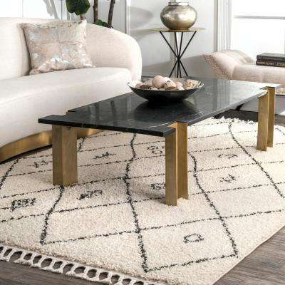 Chrissy Moroccan Trellis Tassel Off White 2 ft. 8 in. x 8 ft. Runner Rug