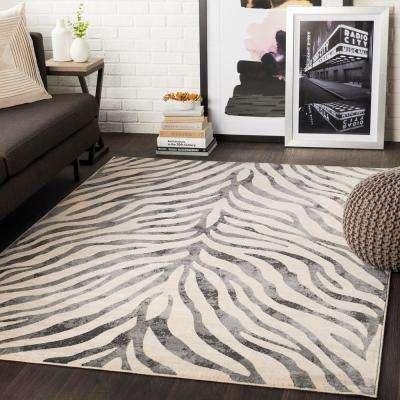 Astvin Black 7 ft. 10 in. x 10 ft. 3 in. Animal Print Area Rug