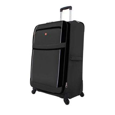 28 in. Upright Spinner Suitcase in Charcoal and Black