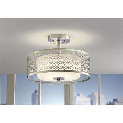 14 in. 1-Light Brushed Nickel Integrated LED Semi-Flush Mount with Circular Patterned Outer Shade and Glass Inner Shade