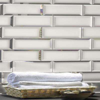 Reflections Silver Beveled Subway 3 in. x 12 in Matte Glass Mirror Wall Tile (1 sq. ft.)