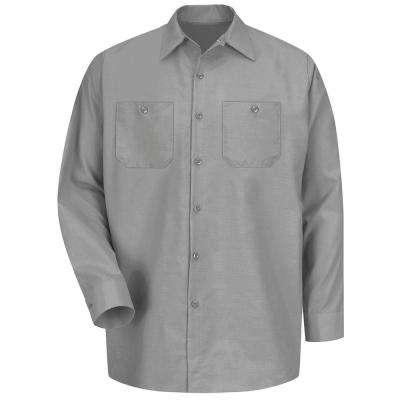 Men's Light Grey Long-Sleeve Work Shirt