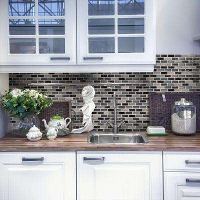 Coal Mine Gray 11.75 in. x 12.25 in. Interlocking Glass and Stone Mosaic Tile (0.999 sq. ft./Each)