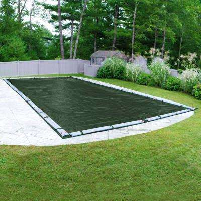 Heavy-Duty Rectangular Grass Green Winter Pool Cover