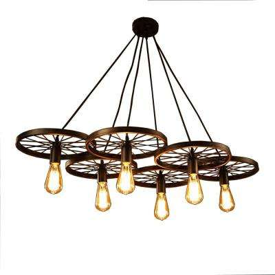 Nathaniel 6-Light Black Edison Chandelier with Bulbs