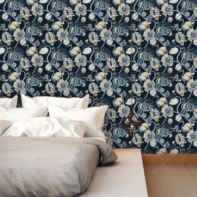 Genevieve Gorder 56 sq. ft. Tropical Fete Azure Blue Self-Adhesive Removable Wallpaper