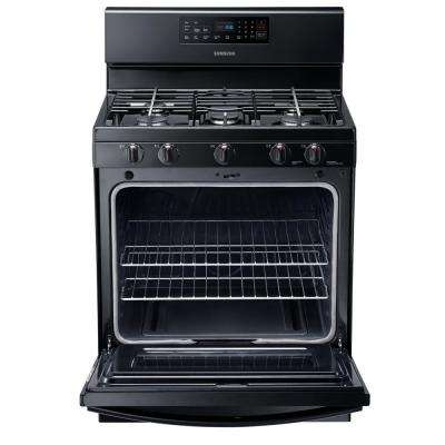 30 in. 5.8 cu. ft. Gas Range with Self-Cleaning Oven and 5 Burner Cooktop with Griddle in Black