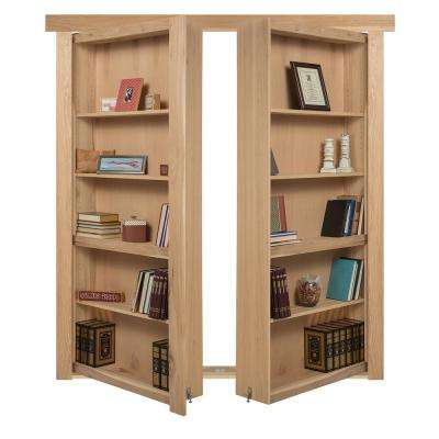 60 in. x 80 in. Flush Mount Assembled Hickory Unfinished In-Swing Solid Core Interior French Bookcase Door