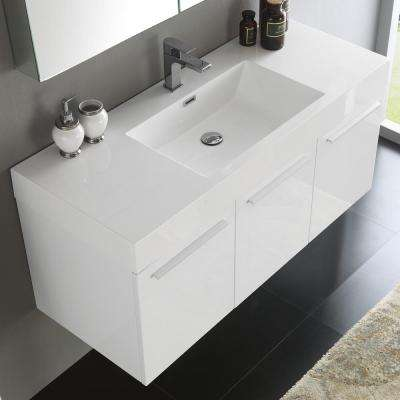 Vista 48 in. Vanity in White with Acrylic Vanity Top in White with White Basin and Mirrored Medicine Cabinet