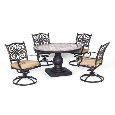 Monaco 5-Piece Round Patio Dining Set with Four Swivel Rockers and Natural Oat Cushions