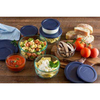 Simply Store 14-Piece Round Glass Storage Set with Blue Lids