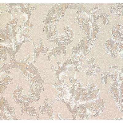 74.26 sq. ft. Romeo Champagne Leafy Scroll Wallpaper