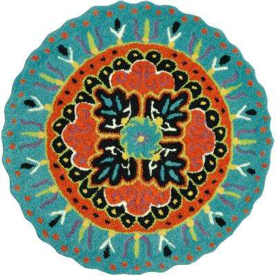 Gardenia Lifestyle Collection Teal/Black 3 ft. Round Area Rug
