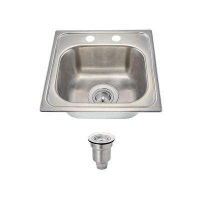 All-in-One Drop-In Stainless Steel 15 in. 2-Hole Single Bowl Kitchen Sink