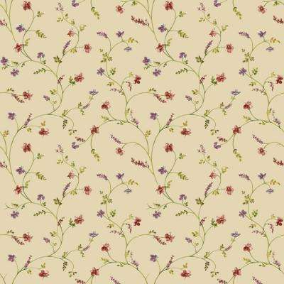 56 sq. ft. Country Keepsakes Country Floral Trail Wallpaper