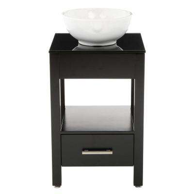 Atala 19 in. Vanity in Espresso with Tempered Glass Vanity Top in Espresso and Mirror