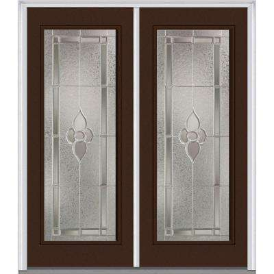 64 in. x 80 in. Master Nouveau Decorative Glass Full Lite Painted Majestic Steel Double Prehung Front Door