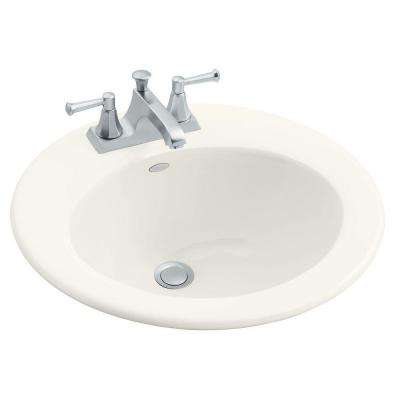 Radiant Drop-In Cast Iron Bathroom Sink in Biscuit with Overflow Drain