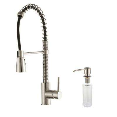 Commercial-Style Single-Handle Pull-Down Sprayer Kitchen Faucet with Soap Dispenser in Stainless Steel