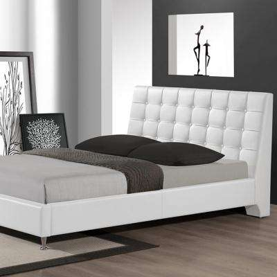 Zeller Transitional White Faux Leather Upholstered Queen Size Bed