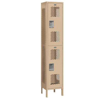 82000 Series 15 in. W x 78 in. H x 15 in. D 2-Tier Extra Wide Vented Metal Locker Assembled in Tan