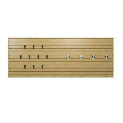 36 in. H x 96 in. W Maple Garage Wall Panel Set with Storage Hooks