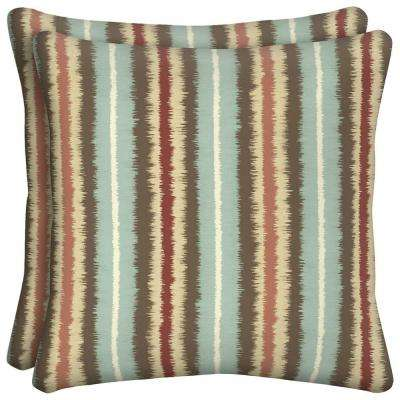 Elaine Ikat Stripe Square Outdoor Throw Pillow (2-Pack)
