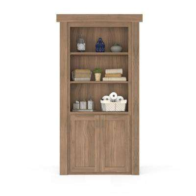 36 in. x 80 in. Flush Mount Assembled Laundry Door Walnut Unfinished Right-Hand Outswing