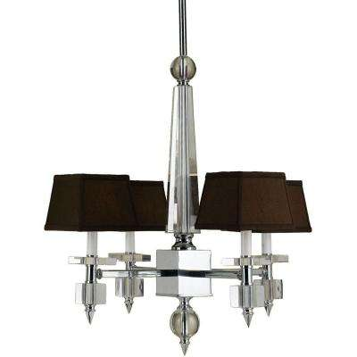 Cluny 4-Light Chrome Chandelier with Crystal Accents and Chocolate Shades