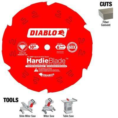 10 in. x 6-Tooth Polycrystalline Diamond (PCD) Tipped James Hardie/Fiber Cement Saw Blade