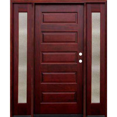 Contemporary 5-Panel Stained Mahogany Wood Prehung Front Door with 14 in. Seedy Sidelites