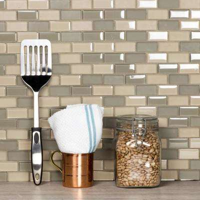 Free Flow Oyster Beige Linear Mosaic 1 in. x 2 in. Glass Wall Pool and Floor Tile (0.96 Sq. ft.)