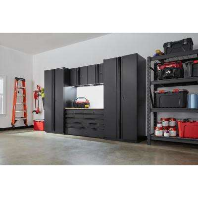 Heavy Duty Welded 128 in. W x 81 in. H x 24 in. D Steel Garage Cabinet Set in Black (6-Piece)