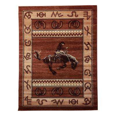 Lodge Design Cowboy Brown 5 ft. 2 in. x 7 ft. Area Rug
