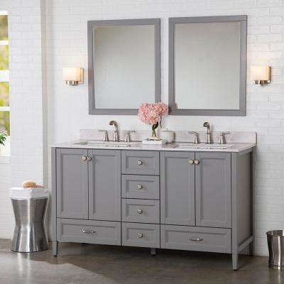 Claxby 61 in. W x 22 in. D Bathroom Vanity in Sterling Gray with Stone Effect Vanity Top in Pulsar with White Sink