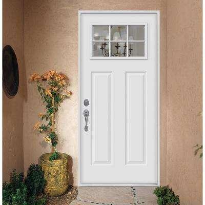 32 in. x 80 in. 6 Lite Craftsman Primed Steel Prehung Right-Hand Inswing Prehung Front Door