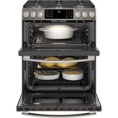 Profile 6.7 cu. ft. Slide-In Smart Double Oven Gas Range with Self-Cleaning Oven in Slate, Fingerprint Resistant