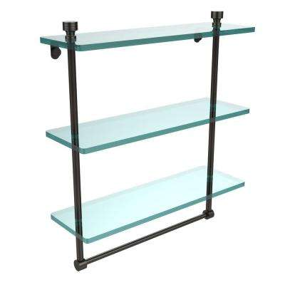 Foxtrot Collection 5 in. W x 16 in. L Triple Tiered Glass Shelf with Integrated Towel Bar in Oil Rubbed Bronze