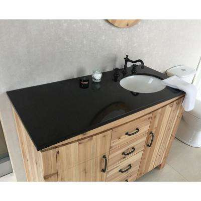 Vista 48 in. W x 22 in. D x 36 in. H Single Vanity in Natural with Granite Vanity Top in Black with White Right Basin