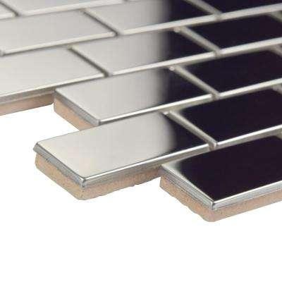 Meta Standard Subway Mirrored 11-3/4 in. x 11-3/4 in. x 8 mm Stainless Steel Metal Over Ceramic Mosaic Tile