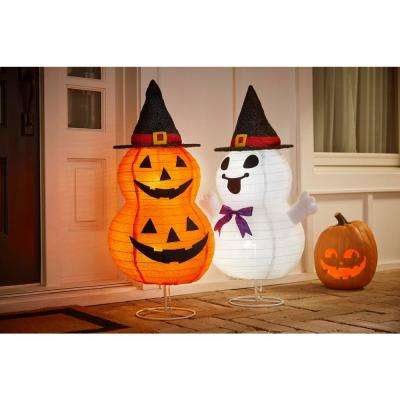 33 in. Halloween Lighted Collapsible Stacked Pumpkins in Witch Hat