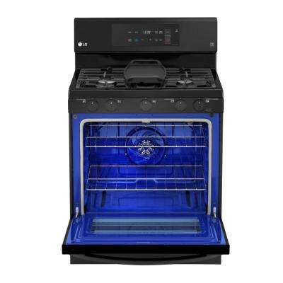 5.4 cu. ft. Gas Range with Even Jet Fan Convection Oven in Matte Black Stainless Steel