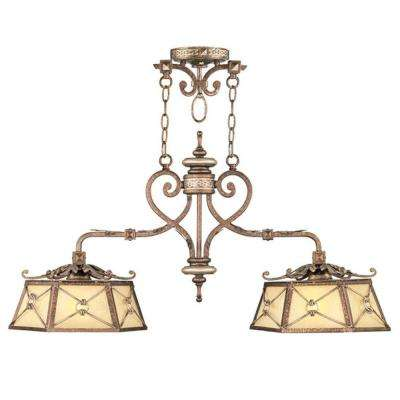 Providence 2-Light Palatial Bronze with Gilded Accents Incandescent Ceiling Island Pendant