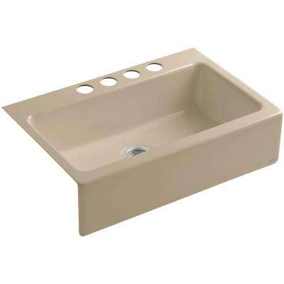 Dickinson Undermount Farmhouse Apron-Front Cast Iron 33 in. 4-Hole Single Basin Kitchen Sink in Mexican Sand