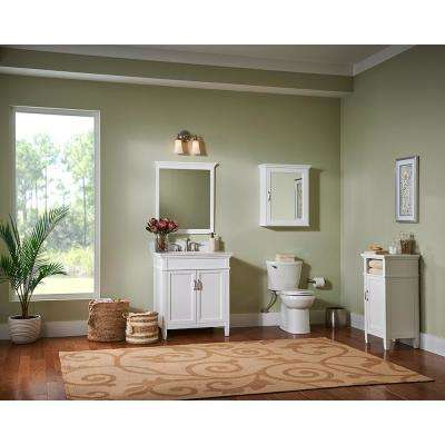 Ashburn 25 in. W x 22 in. D Vanity Cabinet in White with Engineered Marble Top in Winter White with White Sink