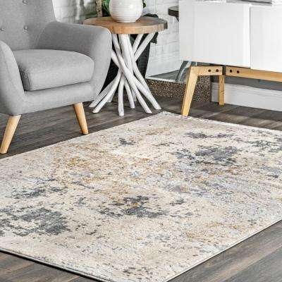 Contemporary Motto Abstract Beige 7 ft. x 9 ft.  Area Rug
