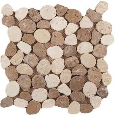 Trav Ancient Tumbled Beige/Mocha Honed and Tumbled 11.02 in. x 11.02 in. x 10 mm Pebbles Mesh-Mounted Mosaic Tile