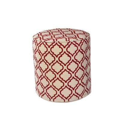 Champion Decorative Pouf in Ivory/Red