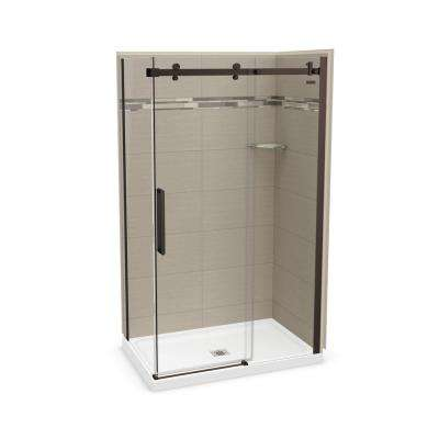 32 in. x 48 in. x 83.5 in. Direct-to-Stud Corner Shower Kit in Origin Greige with Dark Bronze Door