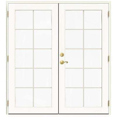 71.5 in. x 79.5 in. W-2500 French Vanilla Left-Hand Inswing French Wood Patio Door
